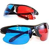2er SET 3D Brillen für TV oder PC Spiele (rot/blau), Anaglyphenbrille für Fernseher, sportliche 3D-Gläser mit Anaglyphen-Technologie in Halbrahmenoptik - Marke Ganzoo