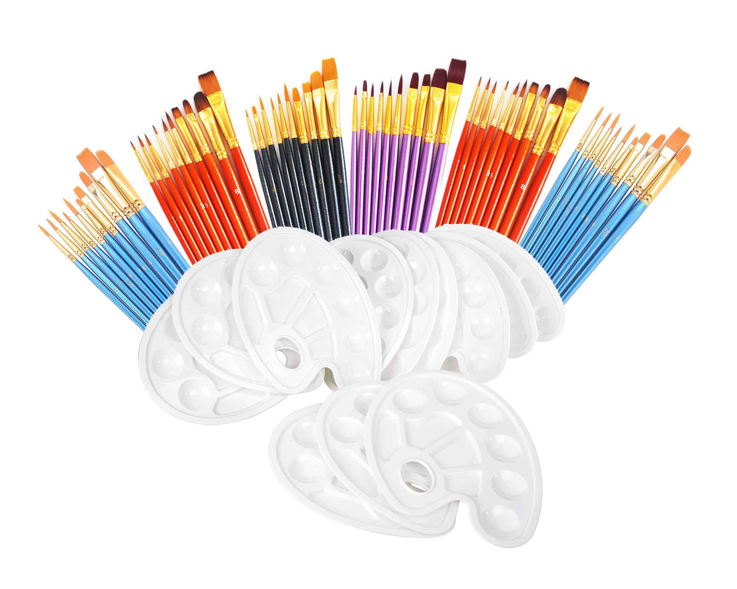S & E TEACHER'S EDITION 72 Pcs Paint Brush Set, 60 Pcs Paint Brushes with 12 Pcs Palettes for Kids or Adults to Create Art Paint by S & E TEACHER'S EDITION