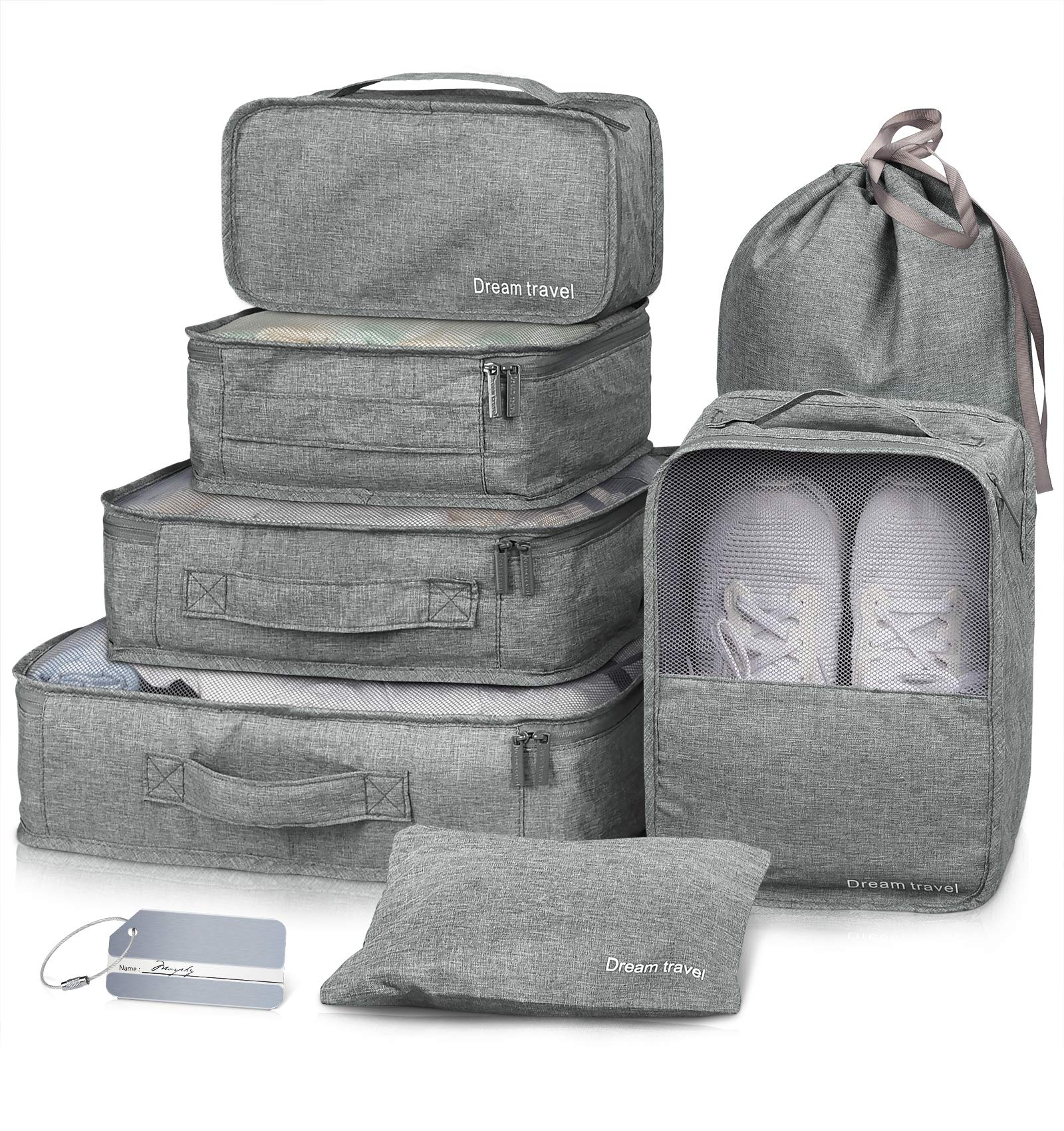 Packing Cubes VAGREEZ 7 Pcs Travel Luggage Packing Organizers Set with Laundry Bag (Grey) by VAGREEZ