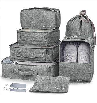 881e4fb86598 Packing Cubes VAGREEZ 7 Pcs Travel Luggage Packing Organizers Set with  Laundry Bag (Grey)