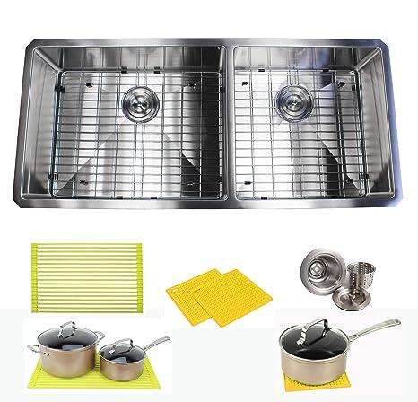 Amazon.com: Ariel - Fregadero de cocina de acero inoxidable ...