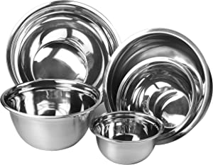 Stainless Steel Mixing Bowls Set of 5 by YBM Home-Premium Polished Mirror Nesting Bowls for Cooking and Serving,Includes 0.75, 1.5,3,5,6.5 Quart,Stackable for Convenient Storage, 1168-69-70-71-72SET