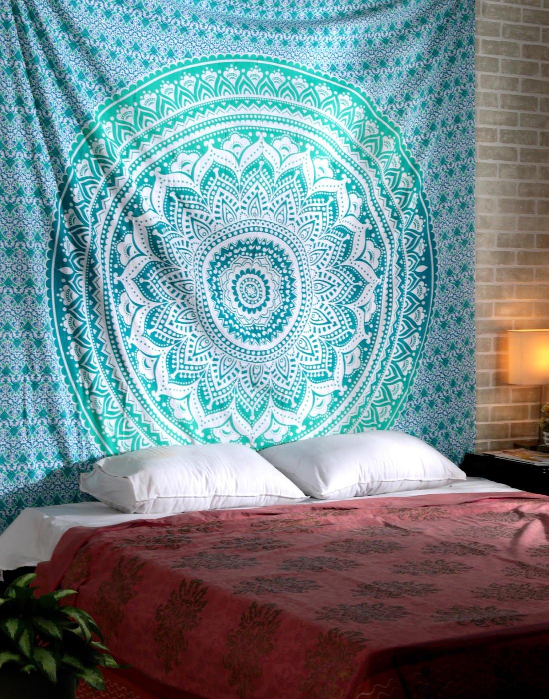 Amazoncom RAJRANG Turquoise Green Ombre Mandala Tapestry