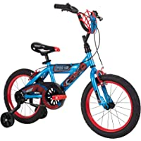 """Huffy Marvel Spider-Man Kid Bike Quick Connect Assembly, Web Plaque & Training Wheels, 16"""" Blue"""