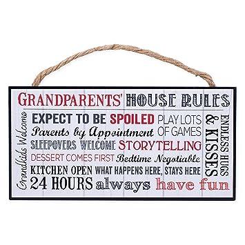 Amazon.com: Placa de madera abuelos Reglas de la casa de ...