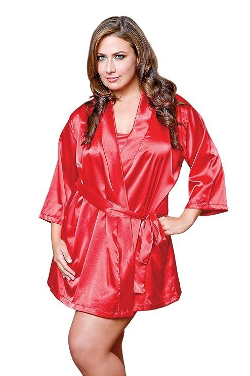 iCollection Women\'s Plus-Size Satin Robe, Red, 3/4X: Amazon.in ...