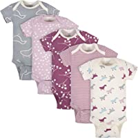 Grow by Gerber Baby Girls Organic 5-Pack Short-Sleeve Onesies Bodysuits