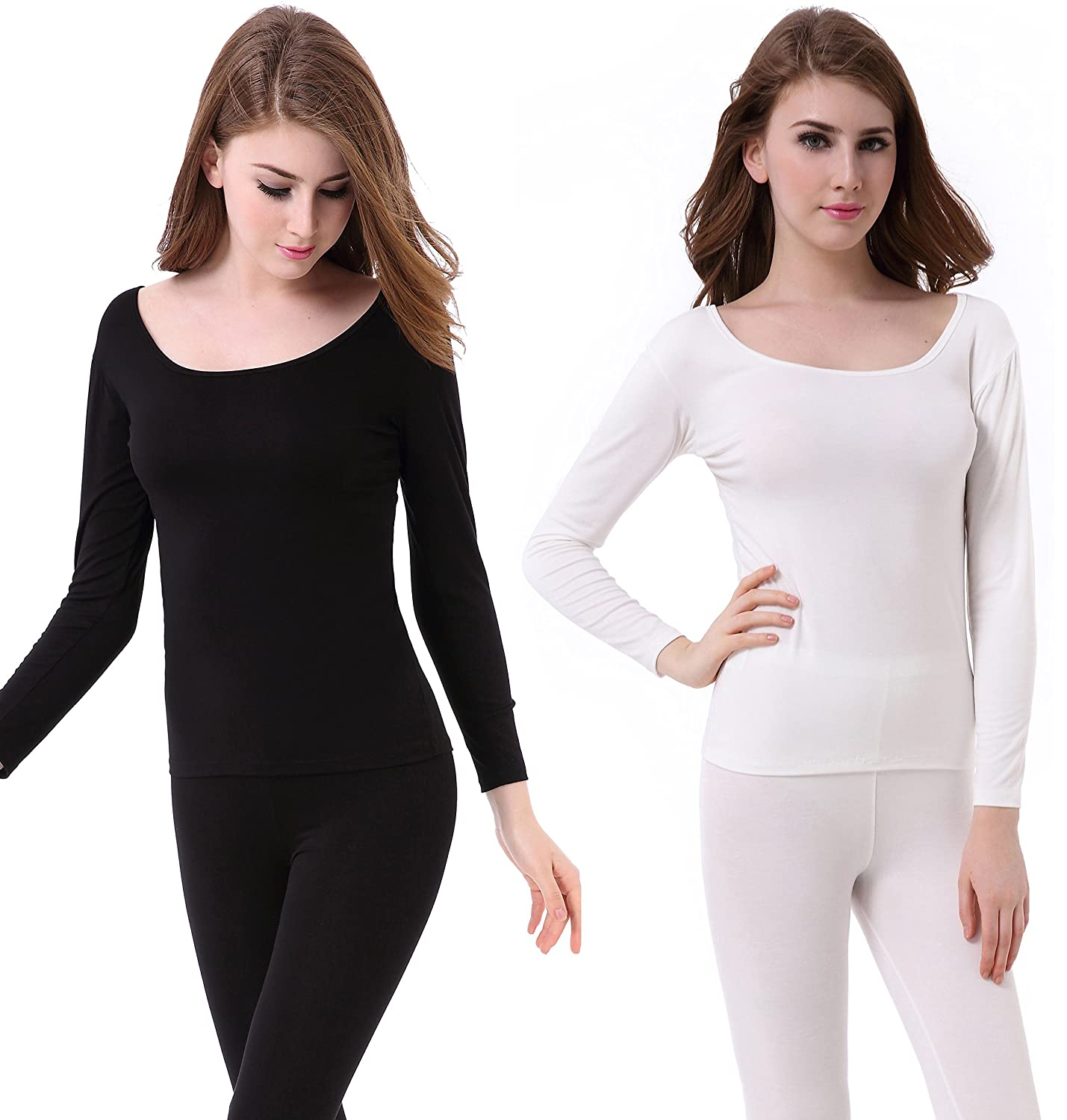 Womens Thermal Underwear Set Ultra Thin Crew Neck Base Layer Stretch Long Johns 2861