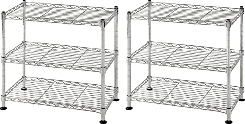Muscle Rack WS181018-C Steel Adjustable Wire Shelving, 3 Shelves, Chrome, 18 Height, 18 Width, 264 lb. Load Capacity Pack of 2