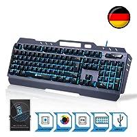 KLIM Lightning –2019 Version- Hybrid Halbmechanische Tastatur QWERTZ DEUTSCH + Sieben Verschiedene Farben + 5-Jahre Garantie – Metallstruktur – Gamer Gaming-Tastatur für Videospiele PC PS4 Windows Mac