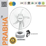 Prabha Solar 15W AC/DC Rechargeable Table Fan with Inbuilt LED Light Works on Any 12V Battery and Oscillation (White)