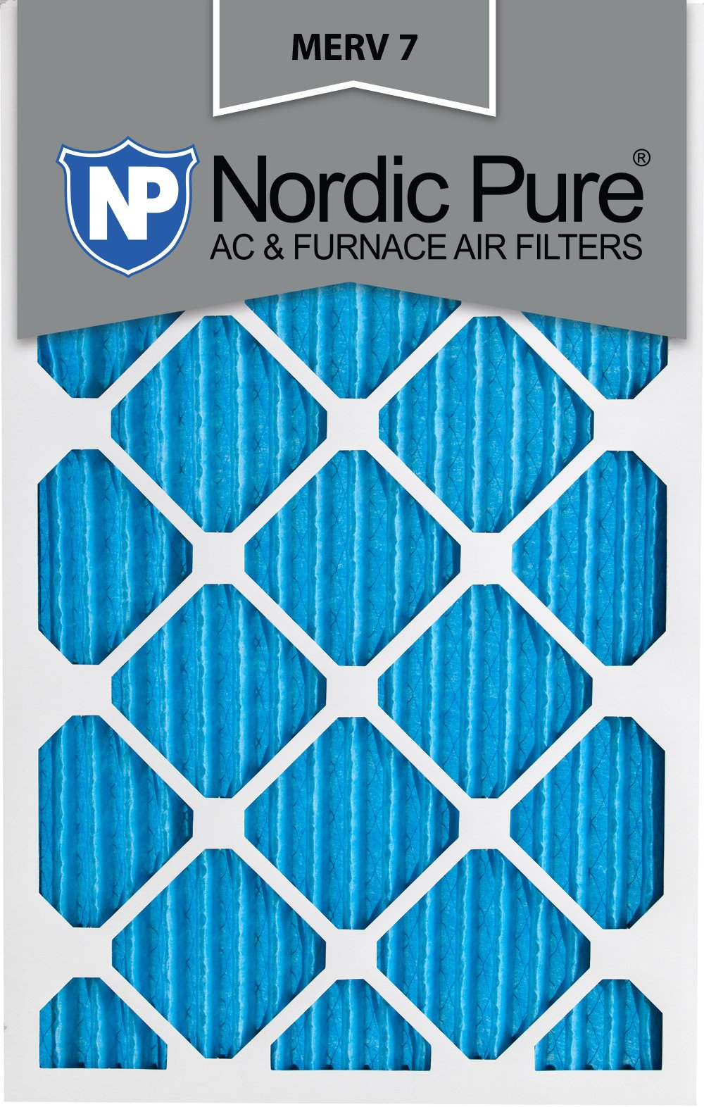 Nordic Pure 16x25x1M7-6 MERV 7 Pleated AC Furnace Air Filter, 16x25x1, Box of 6