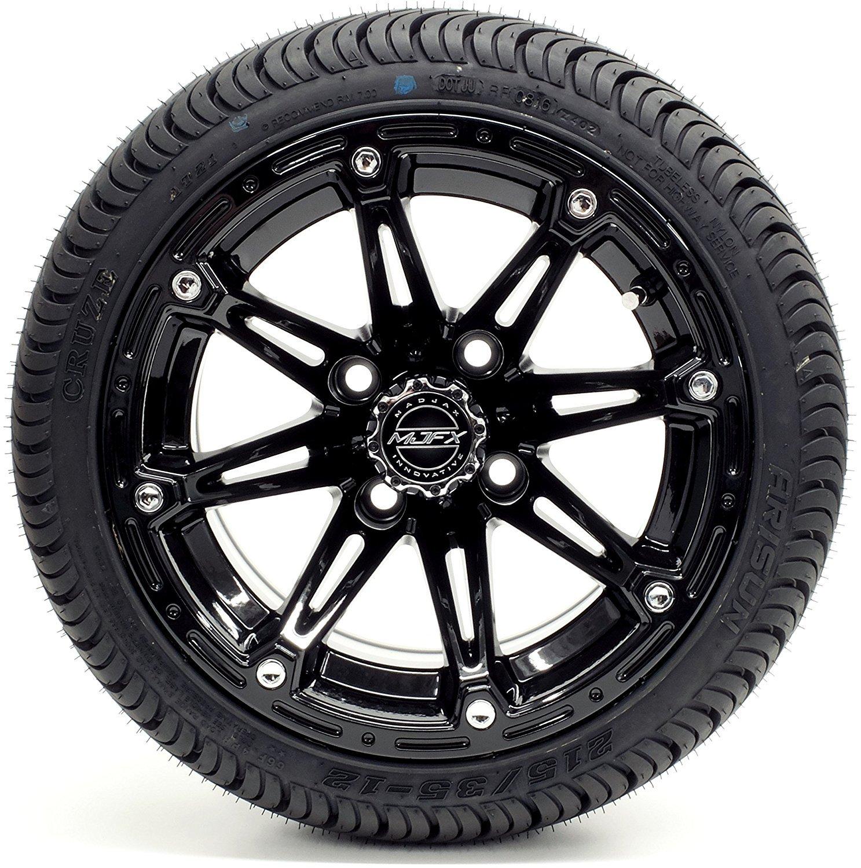 Golf Cart 12'' Madjax ''Element'' Black Wheel and 215/35-12 or 215/50-12 Cruze Golf Cart Tire Combo (215/35-12, Standard Lugs)