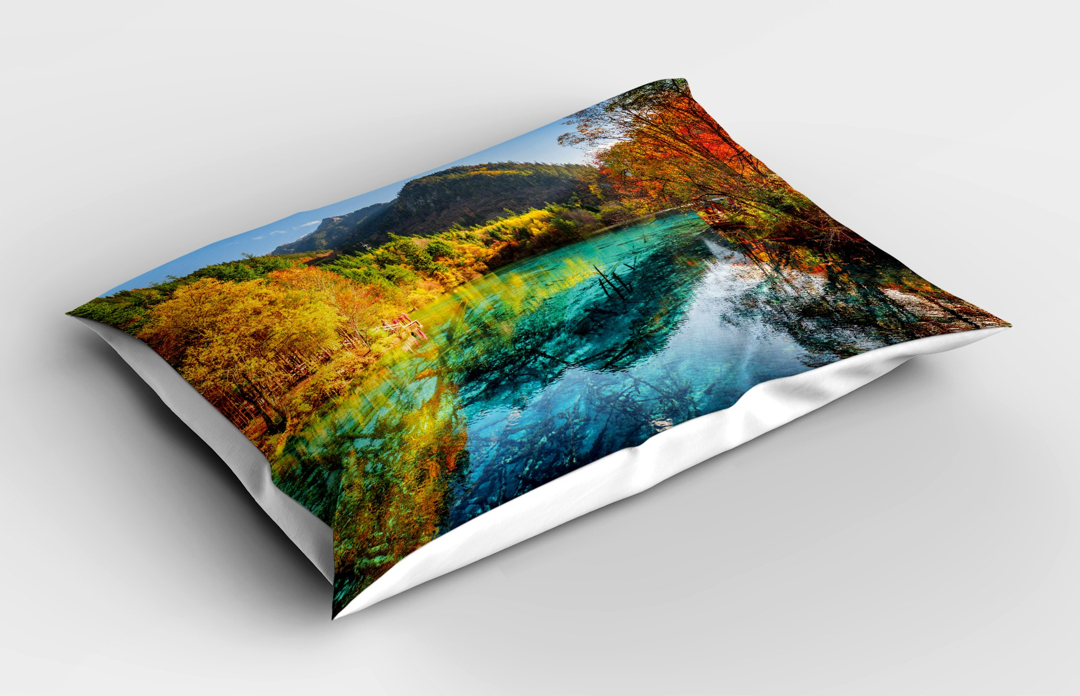 Lunarable Landscape Pillow Sham, Colorful View of Five Flower Lake with Azure Water Among Fall Woods in Jiuzhaigou, Decorative Standard Size Printed Pillowcase, 26 X 20 inches, Multicolor by Lunarable (Image #2)