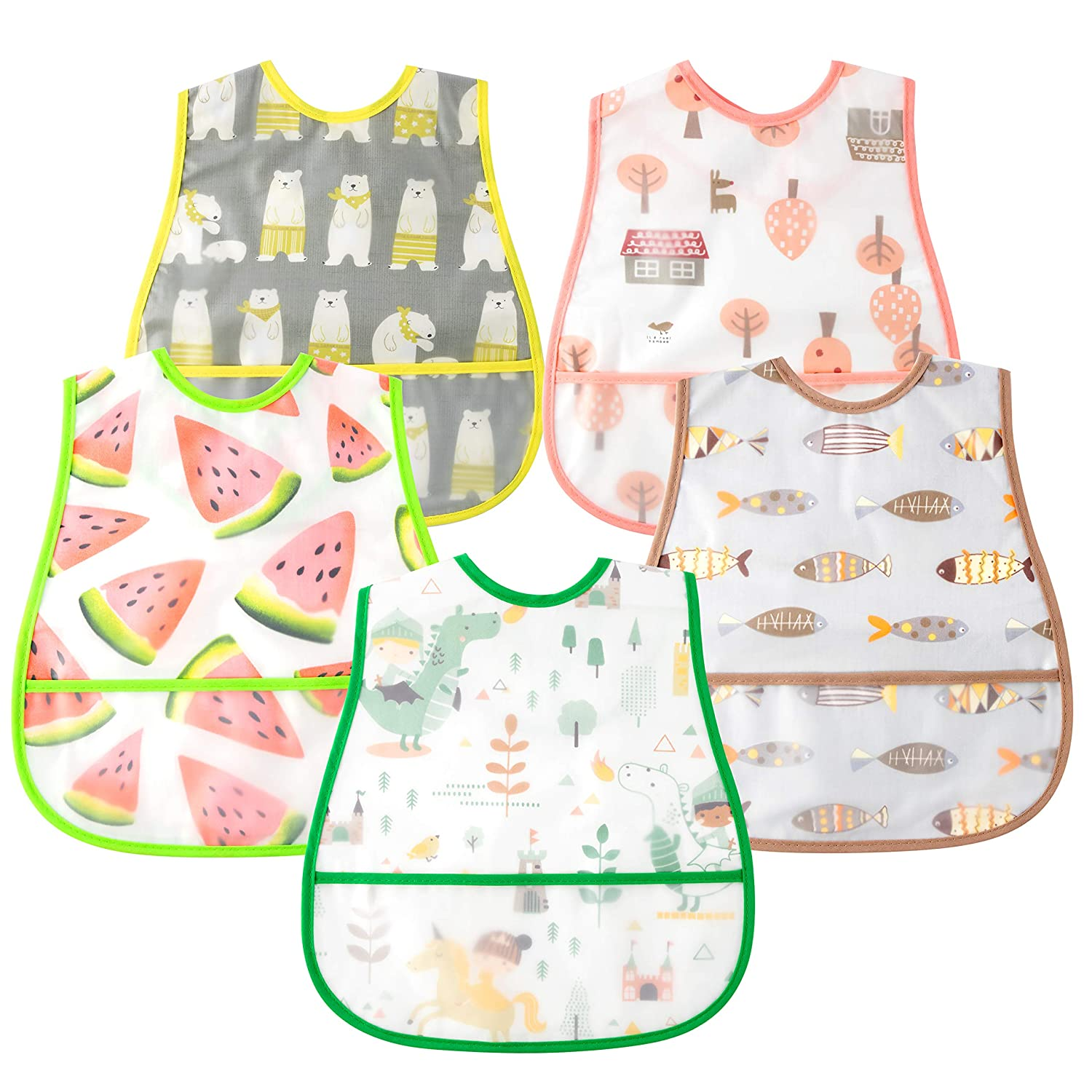 5 Pcs Baby Bibs with Pocket and Snap Button Waterproof Food Bibs Infant Feeding Bibs Gift for Toddler 6-24 Months