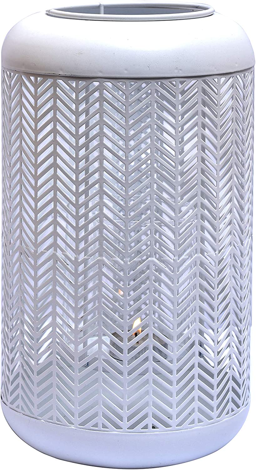 Decozen Lantern for Home Décor White with Glass Candle Holder Lattice Pattern for Indoor Outdoor Patio 6.30 x 6.30 x 11.02 inches