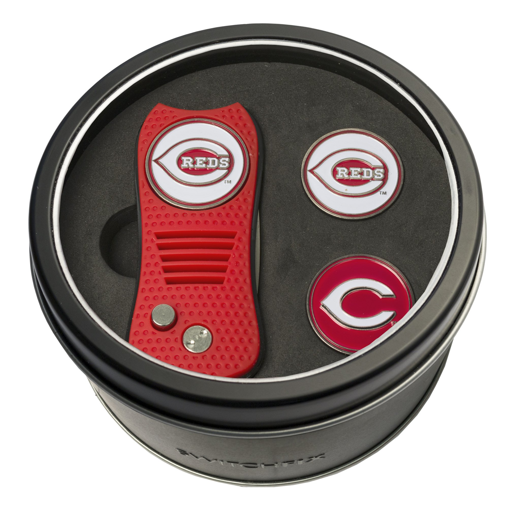 Team Golf MLB Cincinnati Reds Gift Set Switchblade Divot Tool with 3 Double-Sided Magnetic Ball Markers, Patented Single Prong Design, Causes Less Damage to Greens, Switchblade Mechanism by Team Golf