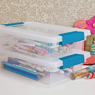 product image for Sterilite 19618606 Small Clip Box, Clear Lid & Base w/Colored Latches, 6-Pack