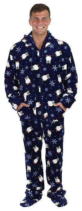 Men s Sleepwear Fleece Hooded Footed Onesie Pajamas Navy Blue Penguins –  (ST17- ea3b218a5