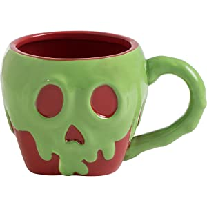 Vandor 55981 Disney Snow White Poison Apple Shaped Ceramic Soup Coffee Mug Cup, 4.6 x 6.5 Inch