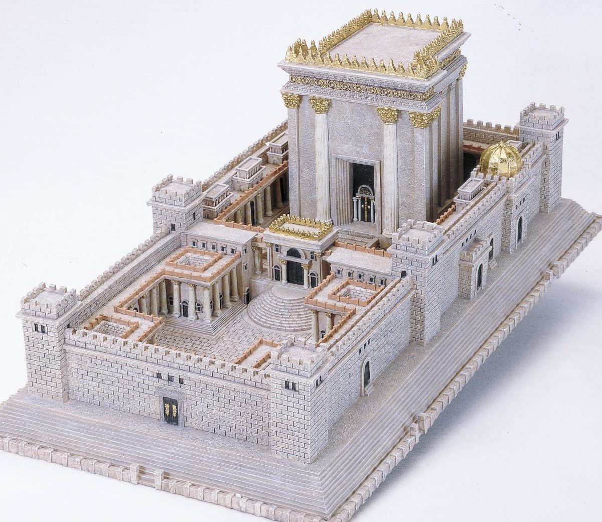 Jewish Expression The Second Temple of Jerusalem Model- an Exquisite Replica of The World's Holiest Sight- Hand Painted- Designed in Israel