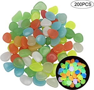 200 PCS Glow in The Dark Pebbles, Rocks, Stones. Great for Indoor or Outdoor Decor, Flower Bed Edging, Fish Tank Decorations, Pea Gravel for Landscaping, Pebbles for Plants, Solar or LED Glow Pebbles