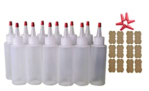 SanDaveVA Brand 4oz Plastic Squeeze Bottles Yorker Caps 12/pk Food Grade Highly Squeezable for Cake Decorating, Condiments, Paint, Crafts, Tattoo Ink, Dye or Glue Long Replacement Caps Included