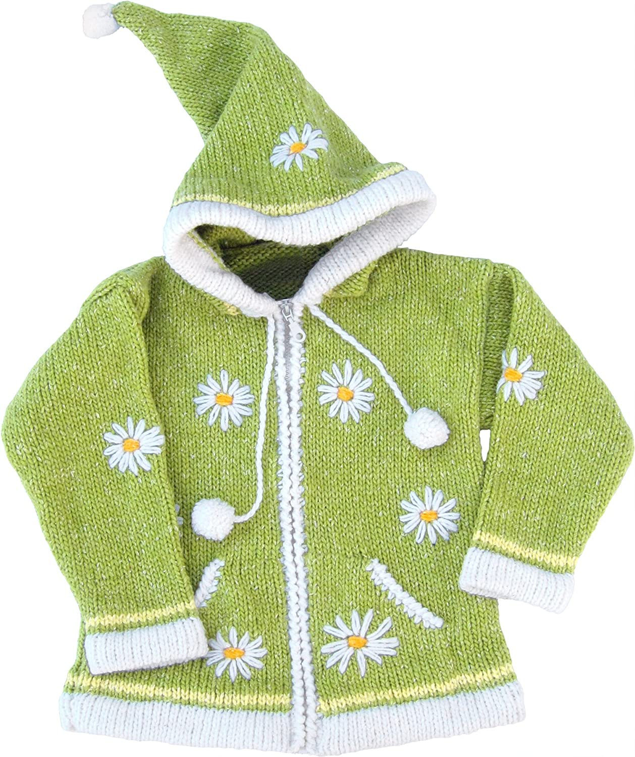 Yellow Green Childs Sweater with Pointy Hood Childs Size 8