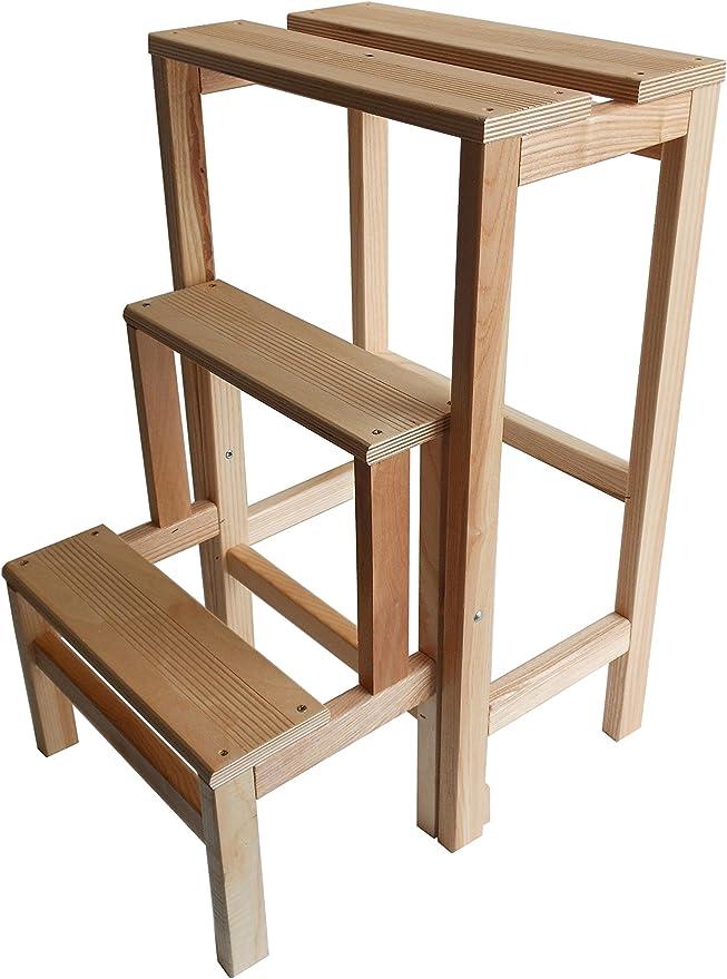 Taburete con escalera de madera de haya natural plegable, ahorra espacio, 3 peldaños: Amazon.es: Oficina y papelería