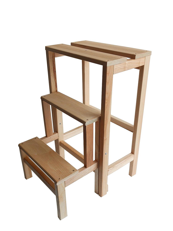 Hocker Skala aus Holz Buche natur klappbar platzsparend–Leiter 3Stufen zum Aufklappen MW ITALIA