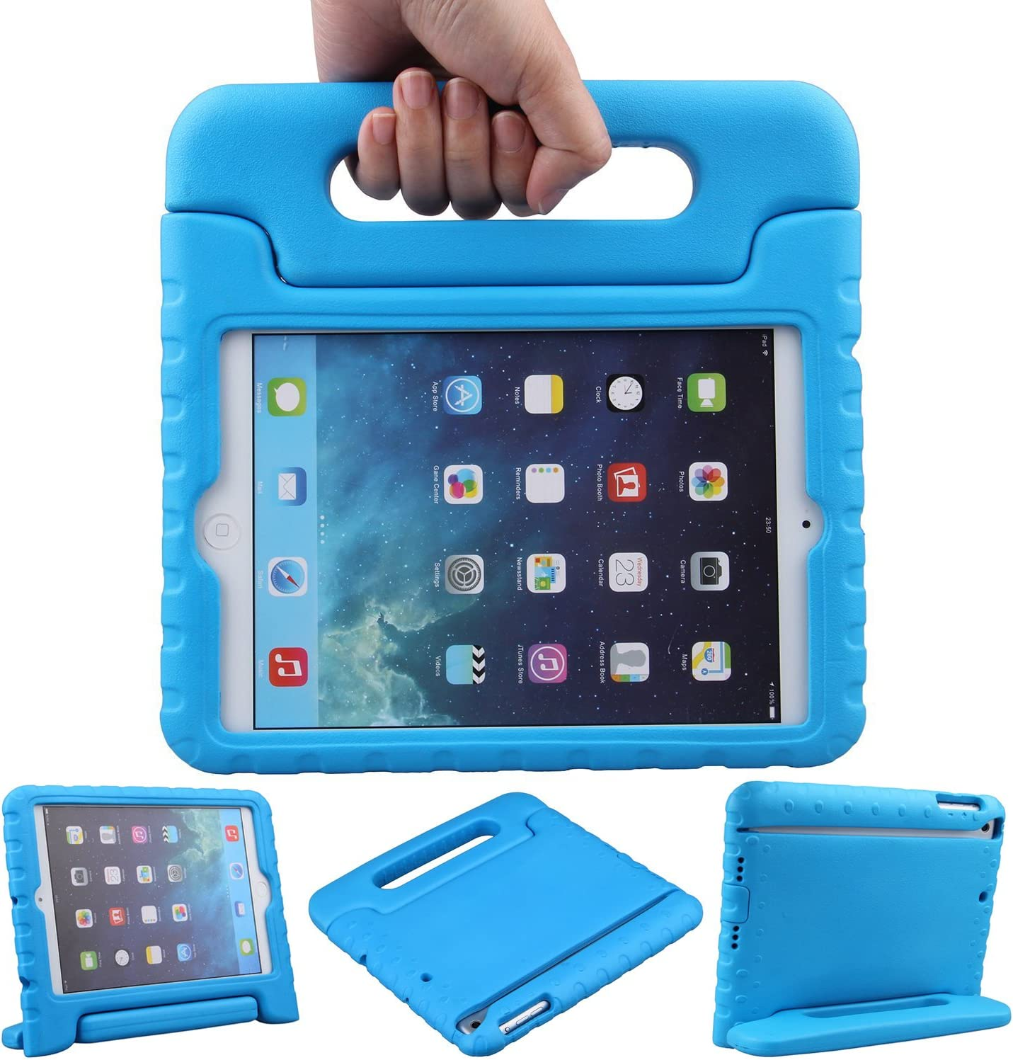 LEFON Kids Case for iPad Mini Shockproof Convertible Handle Light Weight Super Protective Stand Cover Case for Apple iPad Mini 3rd Gen/Mini 2 / Mini 1 (Blue)