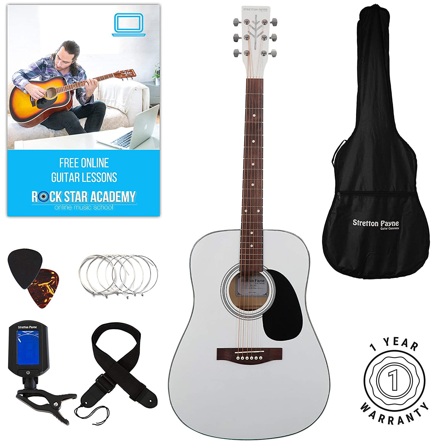 Stretton Payne Dreadnought Full Sized Steel String Acoustic Guitar PACKAGE D1 Black SPD1