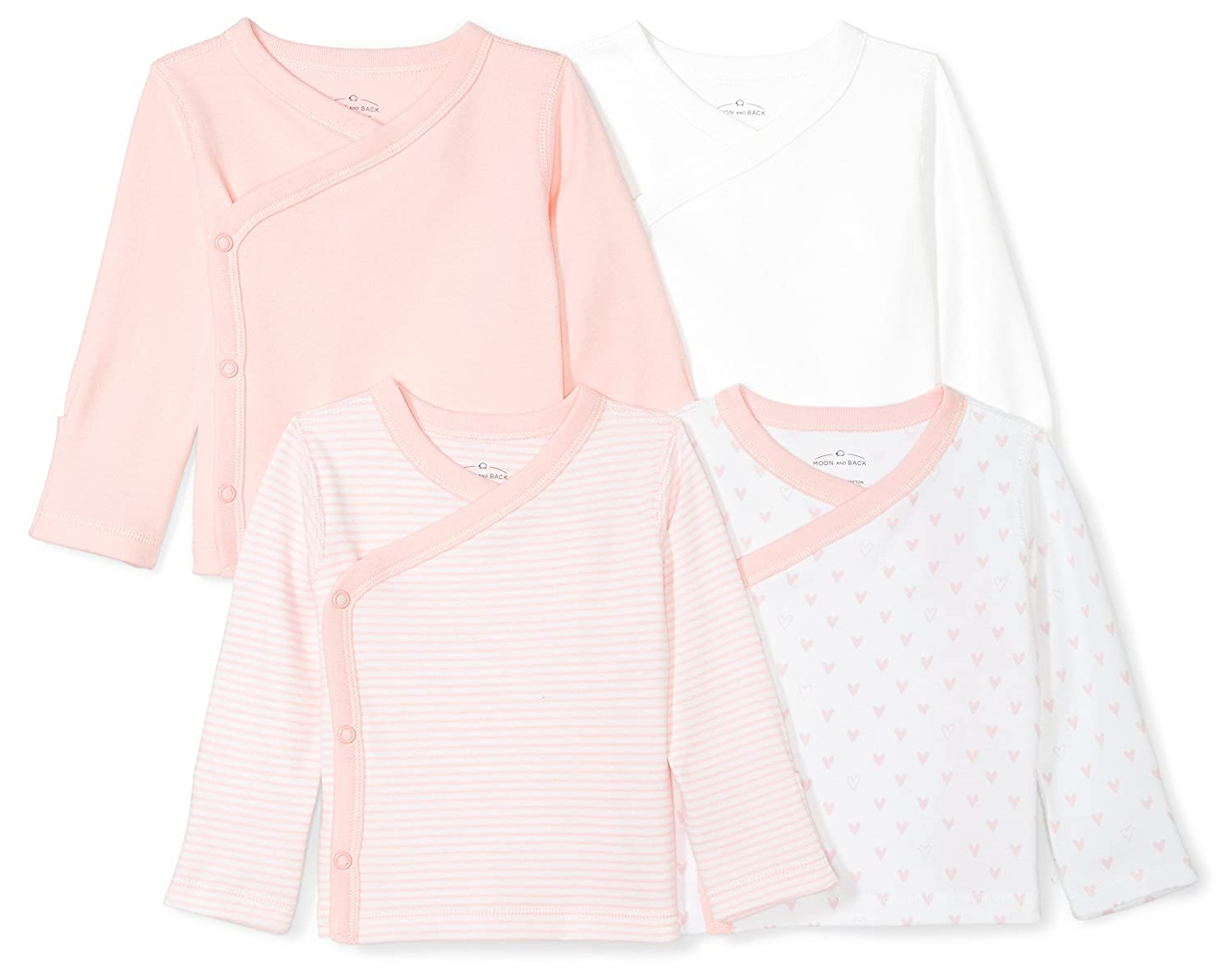 Moon and Back Baby Set of 4 Organic Long-Sleeve Side-Snap Shirts 6-9 Months Pink Blush