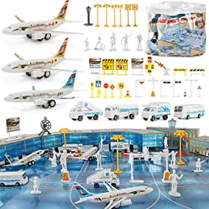 Liberty Imports 200 Pieces Deluxe Airport Terminal Kids Toy Airlines Pretend Playset with Airplanes, Vehicles, Figures, and Accessories