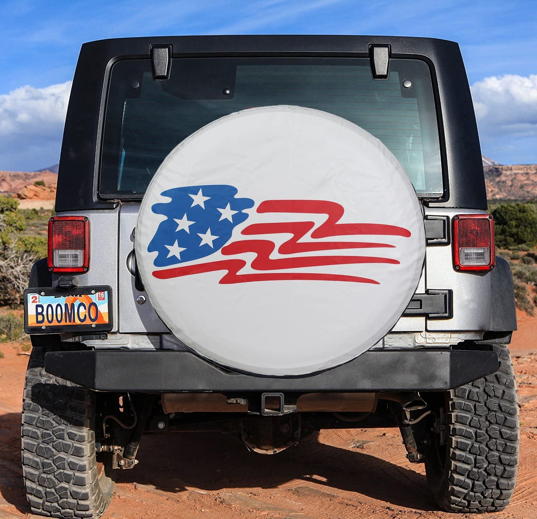 White Waterproof Spare Tire Cover 17 inch American Flag Universal Wheel Tire Covers for RV Jeep Liberty Toyota RAV4 Honda CRV Camper Trailer 17 for Diameter 31-33