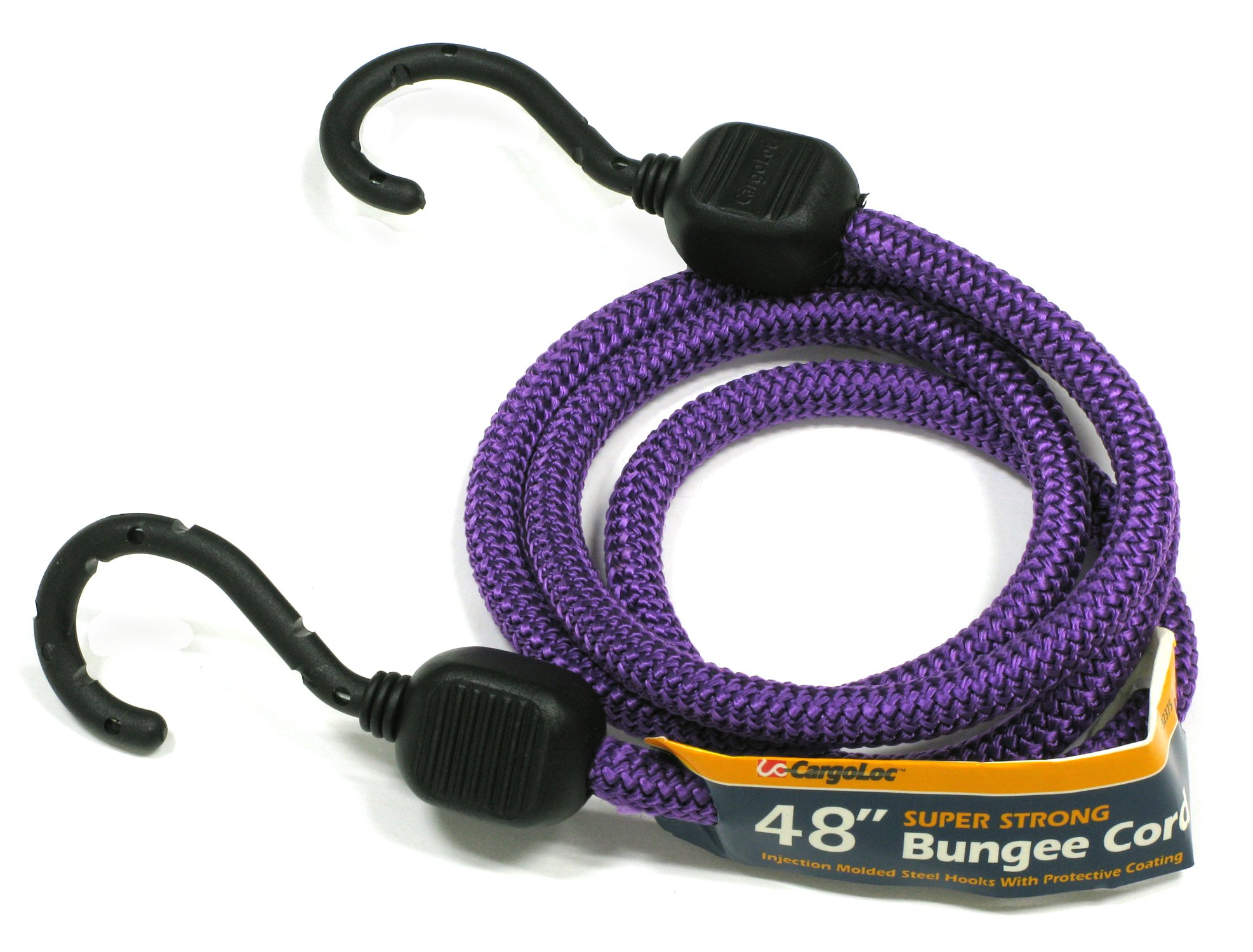 CargoLoc 32375 Bungee Cords with Injection Molded Steel Hooks, 48-Inch, Purple