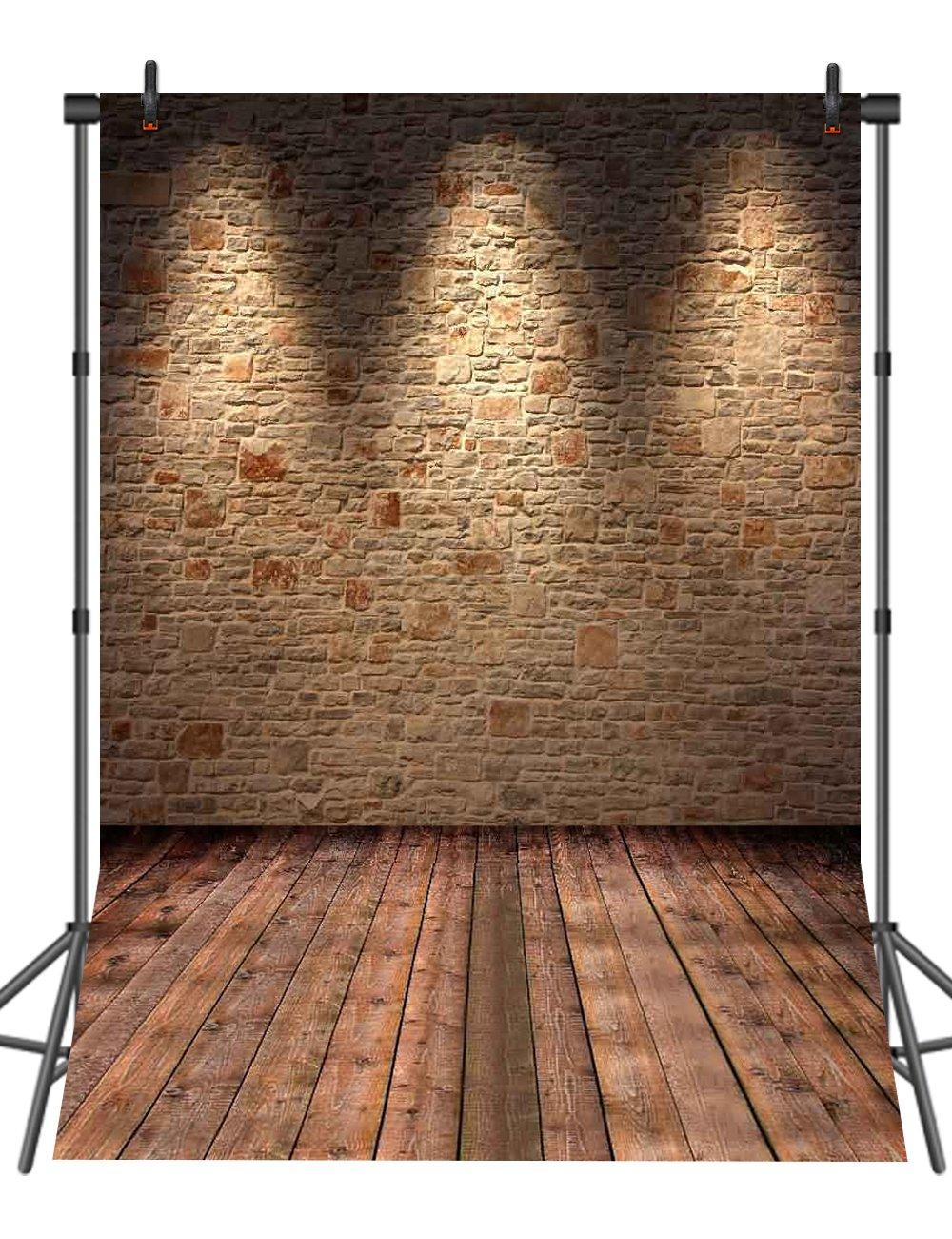 sensfunヴィンテージレンガ壁木製床写真背景幕シルク写真ブースStudio小道具背景 8X8ft ZL38 B07DXSC17P