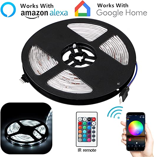 32.8ft 300LED Alexa Smart Home WIFI Wireless RGB Waterproof Strip Neon Light Kit
