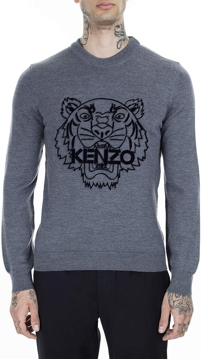 Kenzo Pull en Maille de Tigre Grey Large: