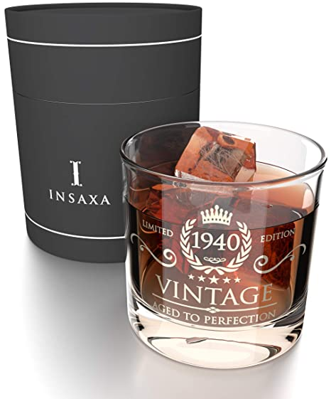 Insaxa Regalos de 80 Cumpleaños para Hombres y Mujeres. Vaso de Cristal para Whisky Vintage 1940 (380ml)
