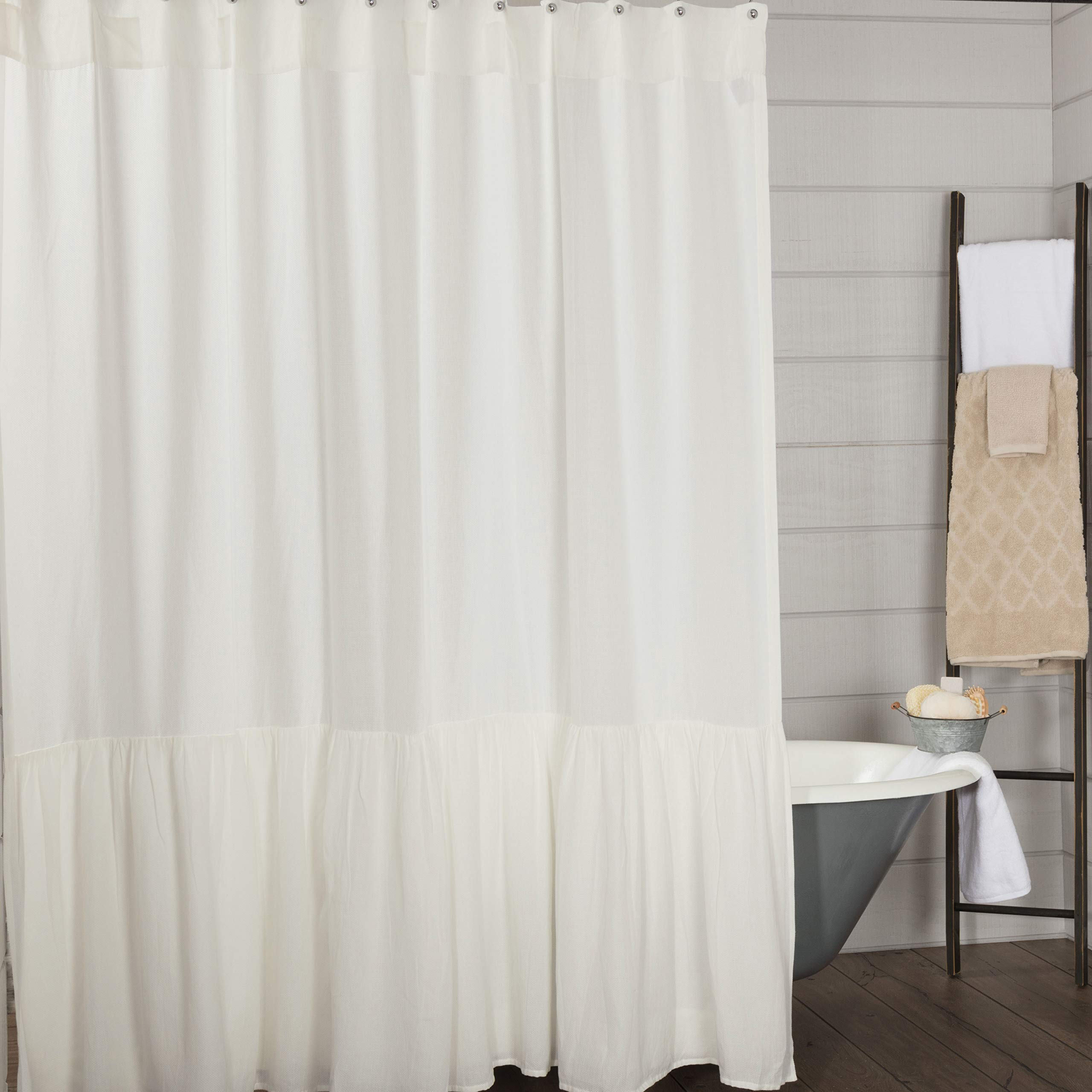 Piper Classics Annabelle High Ruffle Shower Curtain, 72 x 72, Antique Soft White, Farmhouse Chic Style Bathroom Decor
