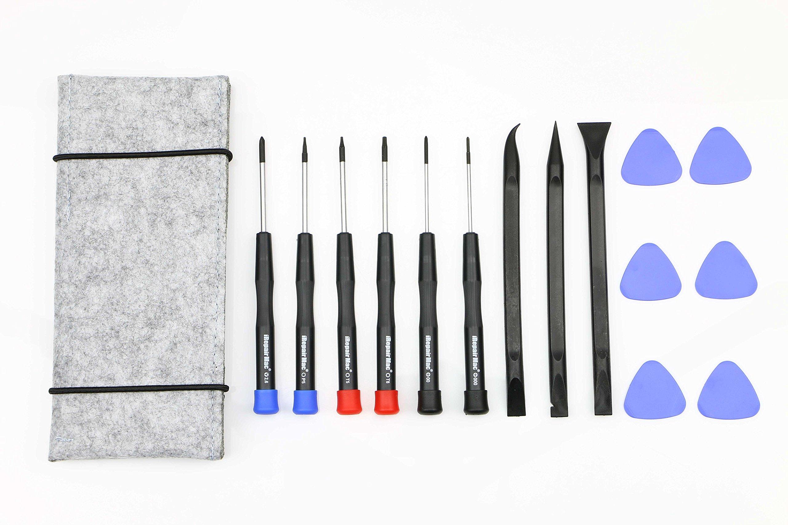 15 Pcs MacBook Repair Tool Kit , Screwdrivers, Opening pick, Plastic Spudger and Tool Bag for MacBook Air Retina Pro