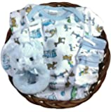 Baby Gift Basket for a Boy - Teddy Bear Sleeper Gift Set