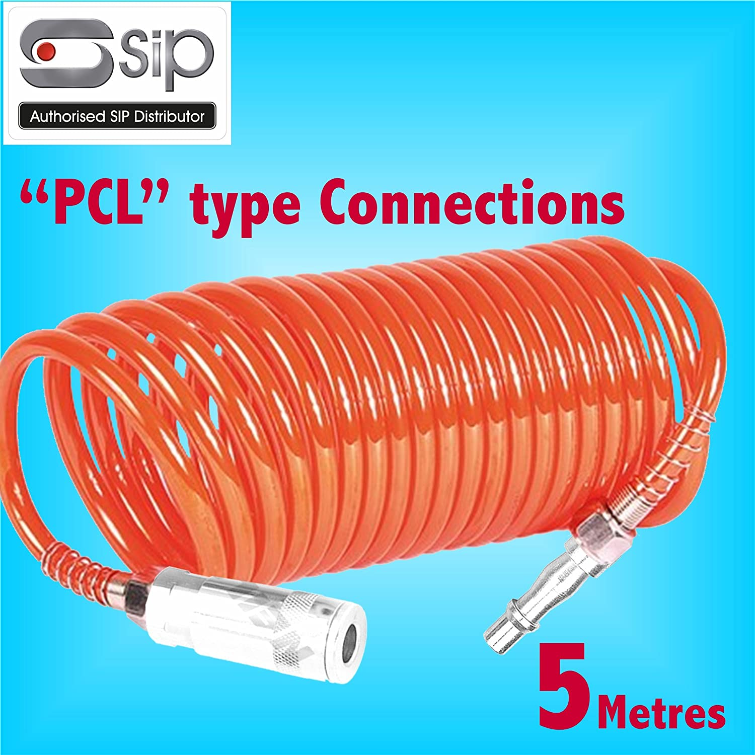 SIP 5 Metre Coiled Air Hose with'PCL' Type Quick Release Fittings Lightweight Nylon air line Compressor Tool SIP Industrial Products Ltd