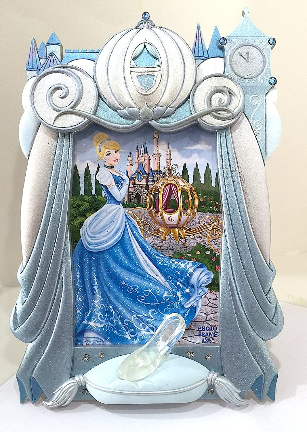 Disney Parks Cinderella Coach Glass Slipper 4 x 6 Photo Frame NEW