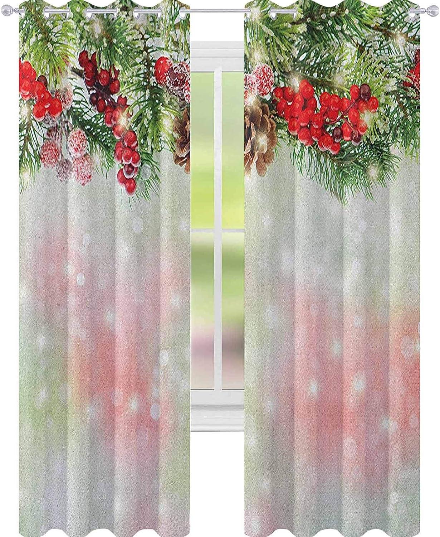 YUAZHOQI - Cortina de Navidad para puertas francesas, ramas de abeto perenne con rojo maduro y bayas borrosas telón de fondo para dormitorio de niños, 132 x 274 cm, color rojo, verde y marrón