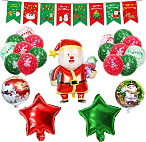 Christmas Party Decorations, EXV 34 Packs Xmas Party Supplies with Merry Christmas Banner, Big Santa Claus, Printed Latex Balloons,foil Balloons, Hanging Swirl, Ribbon for Christmas Theme Decor