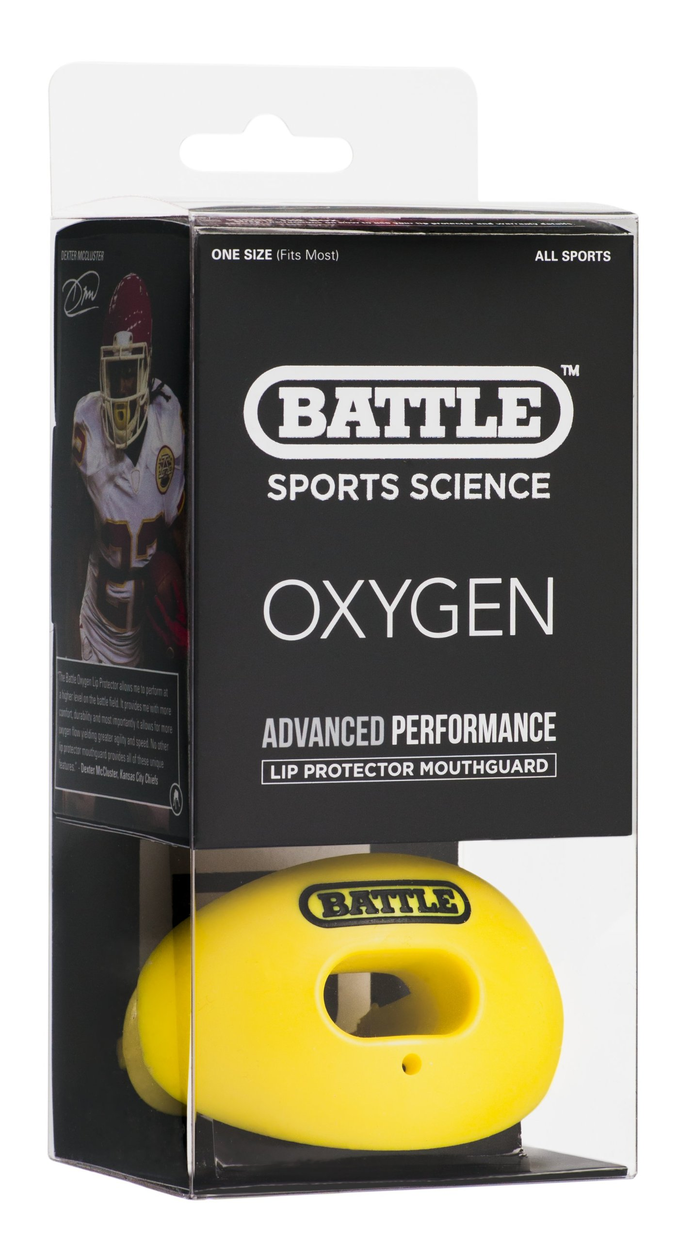 Battle Oxygen Lip Protector Mouthguard, Neon Yellow by Battle