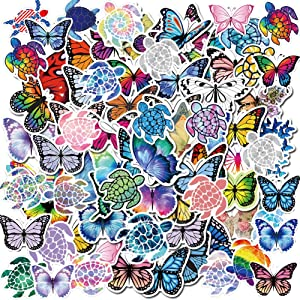 90PCS Butterfly Sea Turtles Mixed Stickers for Water Bottles,Aesthetic Trendy VSCO Stickers for Laptop iPhone iPad Computer Notebook Decal