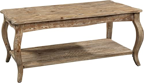 Austerity Reclaimed Wood Coffee Table with Open Shelf, Driftwood